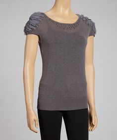 Take a look at this Gray Knit Cap-Sleeve Sweater - Women by Nancy Yang on #zulily today!