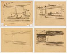 Sketches and preliminaries for Nighthawks, 1942 by Edward Hopper on Curiator, the world's biggest collaborative art collection. Edward Hopper, Digital Museum, Whitney Museum, Urban Setting, Collaborative Art, Mark Rothko, Sculpture, Writing A Book, American Art