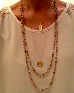 Layering necklaces, love it. Goes with everything.