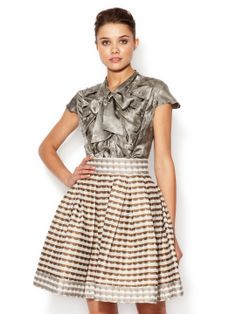 Z Spoke Zac Posen, Silk Neck Tie Printed Blouse --- Flair in the fabric, neck bow of old lady blouses, and the Victorian front panel detail with crimping.  All make for a fun, fashionable, and yet classy and elegant blouse.