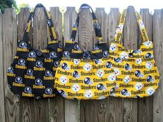 Get your Steeler purse to show your pride for your team! This is an adorable bag with lots of room, lots of glam, and practicality.  It is made with Steeler fabric and the interior is coordinating black fabric patterns. Each purse is lined and interfaced to provide strength and durability. The straps make it long enough to sling over your shoulder and tucks neatly under your arm. It has a convenient and matching button closure that enhances the purse.  Each purse has one pocket inside the…