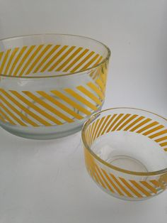 Clear Glass Bowls with Yellow Stripes by WhiteheadandLongley