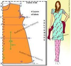 Sudha's Apparel Patterns: How to make a simple Kameez / Kurti? FREE Pattern,Sudha's Apparel P… Sewing Paterns, Sewing Patterns Free, Clothing Patterns, Sewing Stitches, Kurta Patterns, Dress Patterns, Top Pattern, Free Pattern, Sewing Ruffles