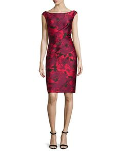 B38HG St. John Collection Ombre Peony Jacquard Off-The-Shoulder Dress, Paprika/Multi