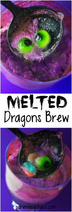 This Melted Dragon's Brew will amaze your kids with it's changing colors and is just the right balance of funny and gross for a fantastic Halloween drink!