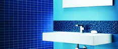 Pastel colours are a trend this fall, especially blue. This is our Playtile collection. 2018 Interior Design Trends, Pastel Colours, Backsplash, Tiles, Sink, Ceramics, Fall, Glass, Blue