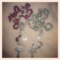 Purple jade and aqua jade rosaries for orders email me at mimiandlola@gmail.com
