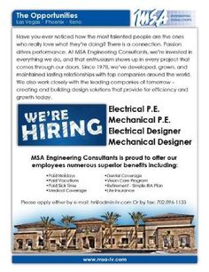 Now hiring for our Reno and Las Vegas offices!  Since 1978, we've developed, grown, and maintained lasting relationships with top companies around the world. Immediate openings for designers, drafters and project managers. http://www.msa-lv.com/en/careers