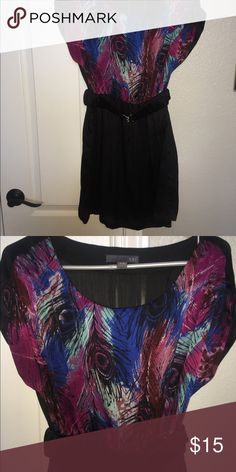 XXI feather dress - size M - great condition! XXI feather dress - size M - great condition! Includes belt that cinches at waist. Silky fabric. This dress is so cute on! *No trades* Forever 21 Dresses