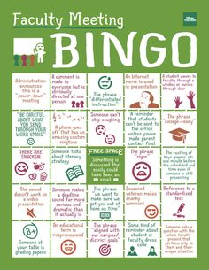 So funny! Faculty meeting BINGO! Totally printing this out for our next faculty meeting!