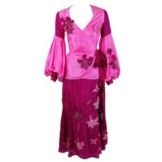 1970's Thea Porter Couture Pink & Fuchsia Applique Silk Billow-Sleeve Dress | From a collection of rare vintage suits, outfits and ensembles at https://www.1stdibs.com/fashion/clothing/suits-outfits-ensembles/