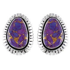 Sterling Silver Earrings Purple Turquoise E1173A-C77