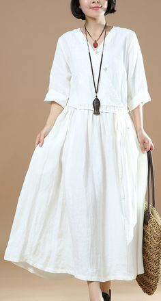 2018 white long linen dress trendy plus size embroideried fabric linen maxi dress casual Chinese Button maxi dresses