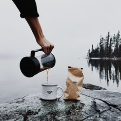 Warm coffee with a view.