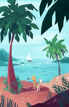 Summer Art Print 11 x 17 by tinysnails on Etsy Nature Illustration, Digital Illustration, Graphic Illustration, Graphic Art, Beach Illustration, Landscape Drawings, Art Drawings, Posca Art, Up Book