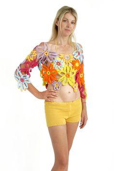 flores de crochê mulher top, flores de crochê margarida encobrir, top hippie verão, flor top, blusa de crochê