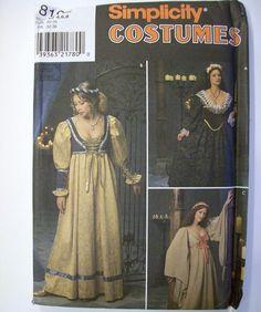 Rennaisance Dress Costume Reenactment Pattern #8192 Size D 4 6 8 Uncut #Simplicity