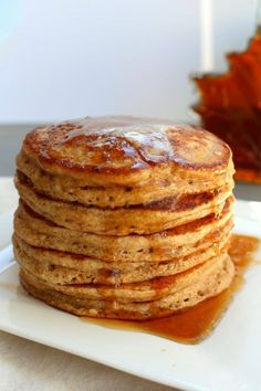 Fluffy Whole Wheat Oatmeal Pancakes. Plus a tip to make the fluffiest pancakes ever. A healthy pancake recipe.
