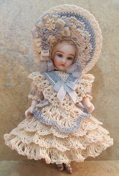 "Victorian style crocheted dress set for 5 1/2"" all bisque doll by Tina"