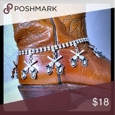 Rockabilly Pistol Gun Boot Chain  FREE Gift Box Rhinestone  Western Pistol Bootchain. Boots are NOT included. Adjustable chain up to 15 inches.  Great gift idea! Bundle items and I'll give you a great deal!  Thanks for looking! Jewelry