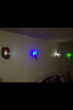 Awesome night lights for a child's superhero room! @Jaci Edmonds Edmonds Lynn I keep seeing you pin super hero stuff these are kinda cool