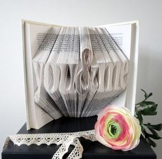 You & Me - Folded Book Art - Original Anniversary gift - Boyfriend gift - Girlfriend - First anniversary - 3D - Words - Anniversary idea