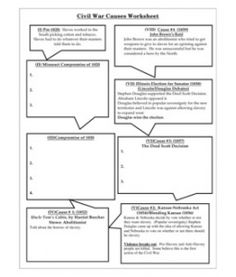 Printables Causes Of The Civil War Worksheet civil war causes worksheet nice organizer of important events this is a about the that could be useful for