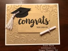 A Graduation Card for Ariane | Just Stampin' Graduation Cards Handmade, Handmade Thank You Cards, Graduation Diy, Fathers Day Cards, Card Tutorials, Card Kit, Diy Cards, Homemade Cards, Stampin Up Cards