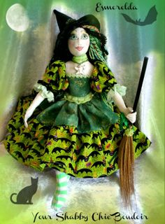 Handmade OOAK Fantasy green witch with broom