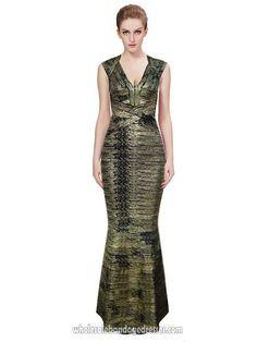 Herve Leger long bandage dresses v neck metallic bronze maxi dress sale cheap from China Herve Leger Wholesale shop online. Delivery worldwide