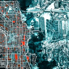 Chicago Map Drawing Collage by MB Art Factory