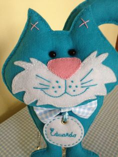 felt blue cat