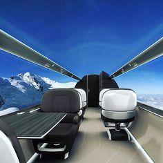 Future windowless private jet  #thefuture #future #plane #privatejet #jetlife #jet #milehigh #airplanes #airplane #invention #design #mountains