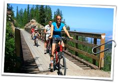 Myra Canyon Bicycle Rental and Tours is conveniently located right at the entrance of the trail in the Parking Lot of the Myra Bellevue Provincial Park. Canyon Bicycle, Victoria 2016, Vancouver, Attraction, Places To Visit, To Go, Bucket, Park, Travel