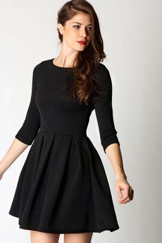 Long Sleeve Black Skater Dress