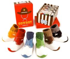 Until spurs are needed, this pack of six pairs of cowboy boot socks is sure to do the trick!  Giddy up!  Fits 0-12 months