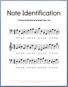 Black and white note identification worksheet