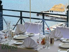 Cafe Kanoni is a trademark when you referring to Corfu. You can enjoy your coffee and admire the Monastery of Vlacherna. Enjoy fresh ice-creams and delicate dishes Corfu, Greece, Delicate, Ice, Patio, Fresh, Dishes, Table Decorations, Canning