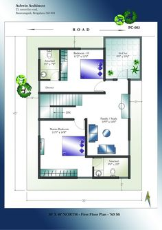 30 X 40 North Facing House Plans First Floor