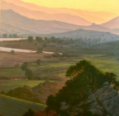 Nicasio Reservoir at Sunset, Northern California Landscape Painting, Marin county, original artwork, oil painting http://terrysauve.com