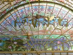 art nouveau - stained glass - window