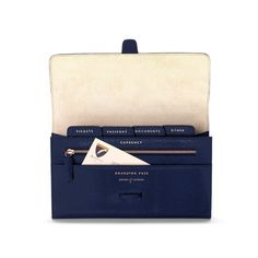 Classic Travel Wallet in Navy Lizard & Cream Suede from Aspinal of London