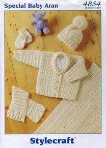 Jacket, Scarf, Hat, Mittens & Blanket in Stylecraft Baby Aran - 4854