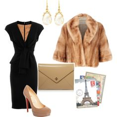 Nude and black...love the dress and shoes and clutch