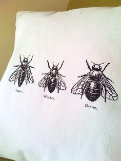 Bee Trio Screen Print Cotton Canvas Throw Pillow 20x20. $24.00, via Etsy.