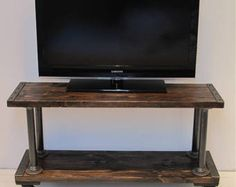 Industrial Media Console, TV Stand, Modern Industrial Wood Media Console,Media Console with Steel Wheels