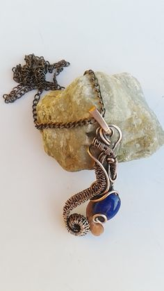 Copper wire wrapped pendant with blue Jade on copper chain , Copper wire pendant ,Wire jewelry by Tangledworld on Etsy