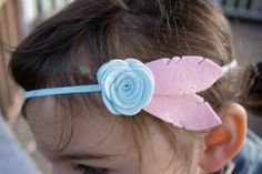 Feather Headband Felt Flower Feather by PACraftsfromtheHeart