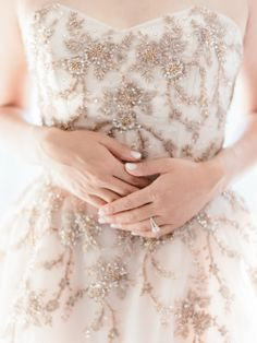 Blush + beaded romantic wedding dress: http://www.stylemepretty.com/2016/02/17/romantic-wedding-dresses/