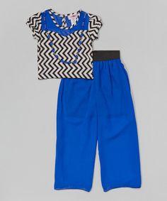 Another great find on #zulily! Royal Blue Chevron Top Set - Toddler & Girls #zulilyfinds